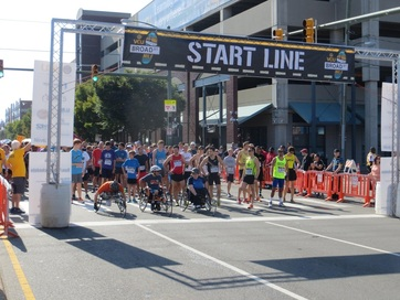 Runners at the Start Line of the VCU 5K and Broad Street Mile in Richmond Virginia
